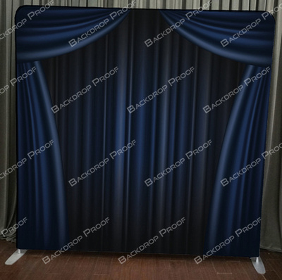 Blue Curtain photo booth backdrop for your event.
