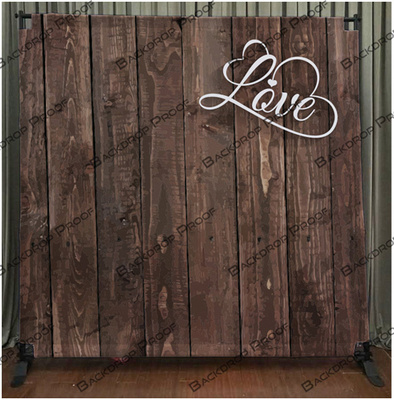 Dark Wood Love photo booth backdrop for your event.