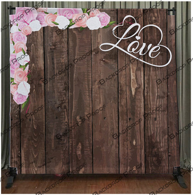 Dark Wood Love Flowers photo booth backdrop for your event.