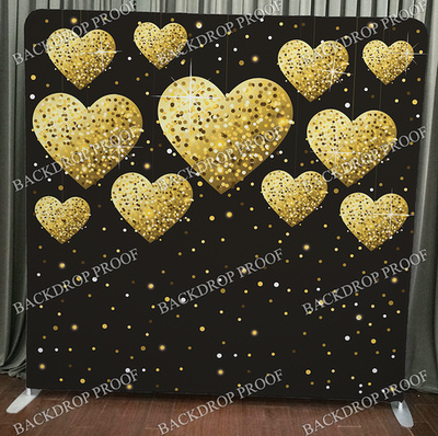 Gold Hearts photo booth backdrop for your event.