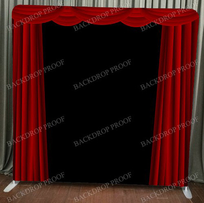 Red Curtain photo booth backdrop for your event.