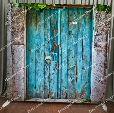 Rustic Blue Door photo booth backdrop for your event.