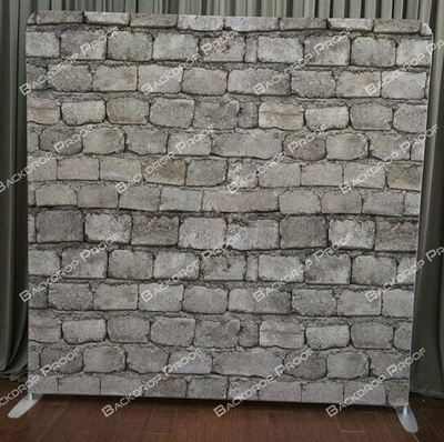 White Brick photo booth backdrop for your event.
