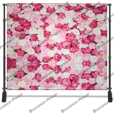 Red Pink White Floral photo booth backdrop for your event.