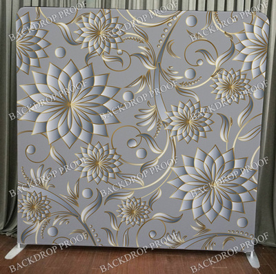 Silver Gold Flowers photo booth backdrop for your event.